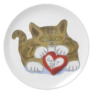 El día de San Valentín presente para el gatito del Platos Para Fiestas