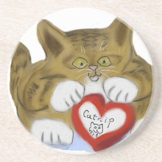 El día de San Valentín presente para el gatito del Posavaso Para Bebida