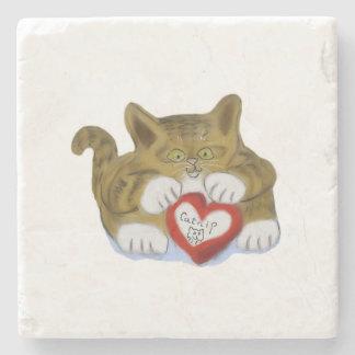 El día de San Valentín presente para el gatito del Posavasos De Piedra