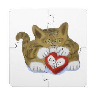 El día de San Valentín presente para el gatito del Posavasos De Puzzle