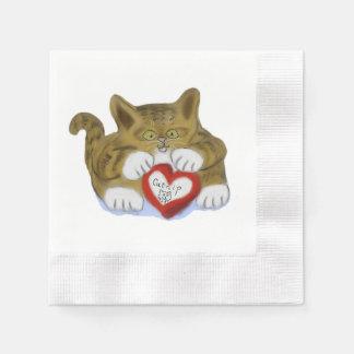 El día de San Valentín presente para el gatito del Servilletas Desechables