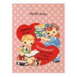 El día de San Valentín retro embroma lunares Tarjetas Postales