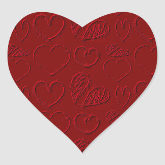 El día de San Valentín rojo de los corazones Pegatina En Forma De Corazón