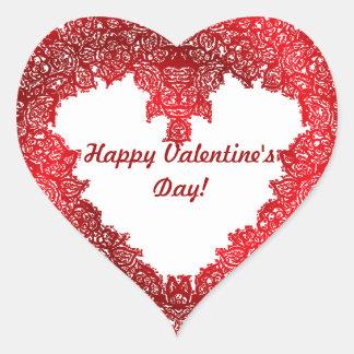 El día de San Valentín rojo del corazón Pegatina En Forma De Corazón