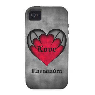 El día de San Valentín rojo gótico del corazón iPhone 4/4S Fundas
