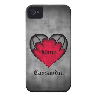 El día de San Valentín rojo gótico del corazón Case-Mate iPhone 4 Protectores