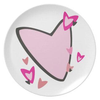 El día de San Valentín rosado de los corazones Plato De Cena
