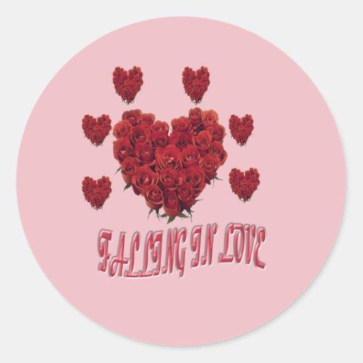El día de San Valentín rosado dulce del amor Pegatina Redonda