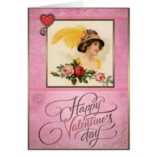 El día de San Valentín - señora en gorra con la Tarjeta De Felicitación