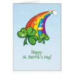El día de St Patrick, arco iris, tréboles, monedas Felicitacion
