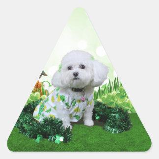 El día de St Patrick - Bichon Frise - Mia Pegatina Triangulo Personalizadas