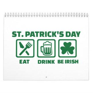 El día de St Patrick come a irlandeses del sueño Calendario De Pared