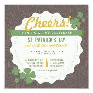 El día de St Patrick de la cerveza del arte invita Invitación 13,3 Cm X 13,3cm