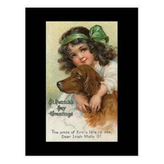 El día de St Patrick del chica y del perro del Tarjetas Postales