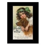 El día de St Patrick del chica y del perro del vin Postal