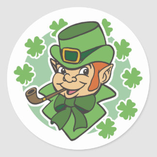 El día de St Patrick del dibujo animado del Pegatina Redonda