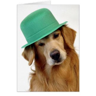 El día de St Patrick del golden retriever Tarjeta De Felicitación