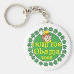 El día de St Patrick del irlandés de Obama Llavero Redondo Tipo Pin