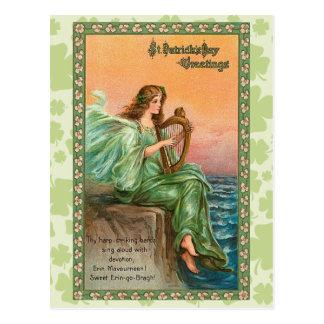 El día de St Patrick del irlandés del vintage Postal