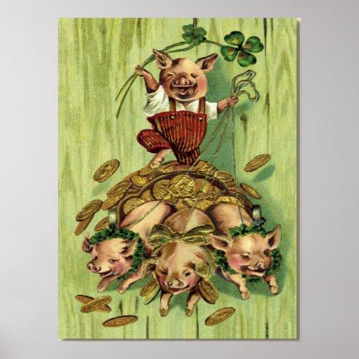 El día de St Patrick del oro del cerdo del trébol  Póster