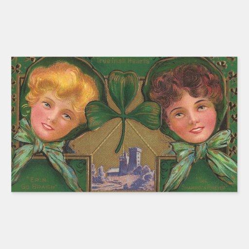 El día de St Patrick del vintage Pegatina Rectangular