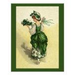 El día de St Patrick del vintage, tréboles verdes  Comunicados Personalizados
