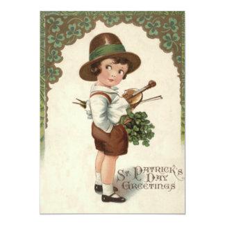 """El día de St Patrick del violín del trébol del Invitación 5"""" X 7"""""""