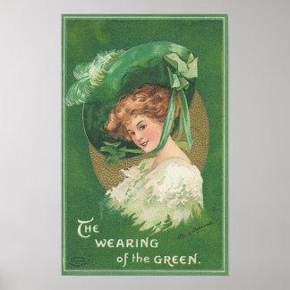 El día de St Patrick el llevar del verde Poster