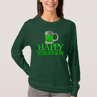 El día de St Patrick feliz borroso cerveza verde Playera