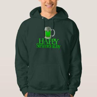 El día de St Patrick feliz borroso cerveza verde Sudadera