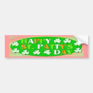 El día de St Patrick feliz Etiqueta De Parachoque