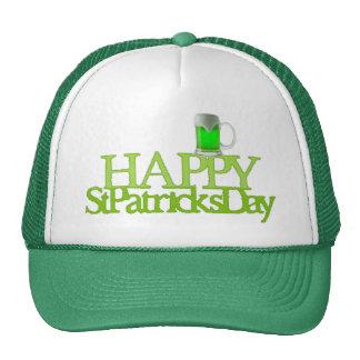 El día de St Patrick feliz de la cerveza verde Gorras De Camionero