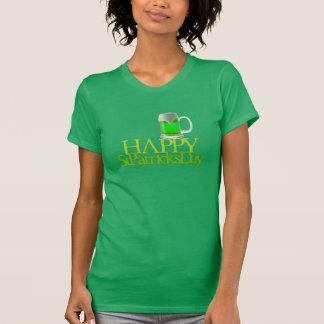 El día de St Patrick feliz de la cerveza verde Playera