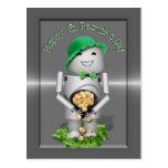 El día de St Patrick feliz de poco Robo-x9 Postal