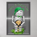 El día de St Patrick feliz de poco Robo-x9 Posters