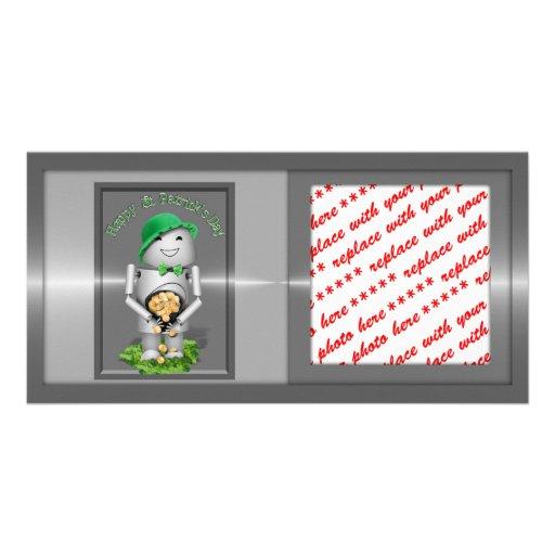 El día de St Patrick feliz de poco Robo-x9 Tarjeta Con Foto Personalizada