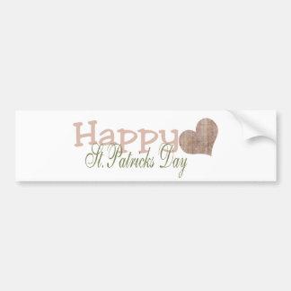 El día de St Patrick feliz del Grunge Etiqueta De Parachoque