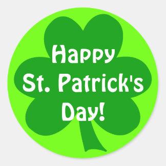 El día de St Patrick feliz del trébol Pegatina Redonda