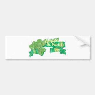 El día de St Patrick feliz del vintage Etiqueta De Parachoque