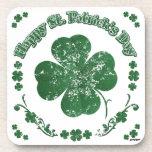 El día de St Patrick feliz - estilo del vintage Posavasos De Bebidas