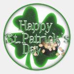 ¡El día de St Patrick feliz! Etiqueta Redonda