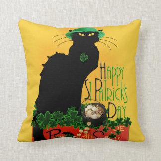 El día de St Patrick feliz - Le Chat Noir Cojín