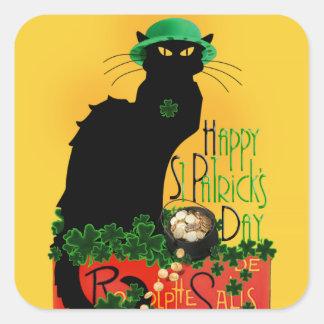 El día de St Patrick feliz - Le Chat Noir Pegatina Cuadrada