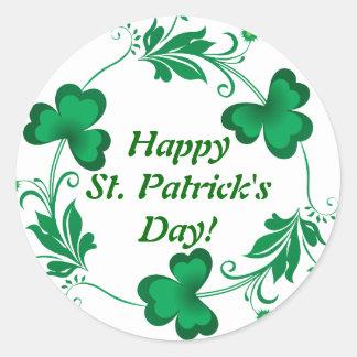 ¡El día de St Patrick feliz! Muñeca Pegatina Redonda