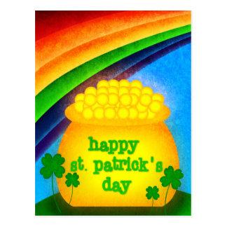 El día de St Patrick feliz - oro Tarjetas Postales