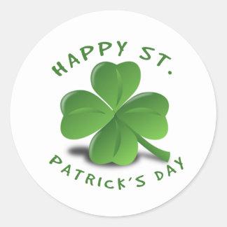El día de St Patrick feliz Pegatina Redonda