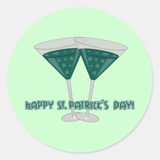 El día de St Patrick feliz - Shamrocktini II Pegatina Redonda