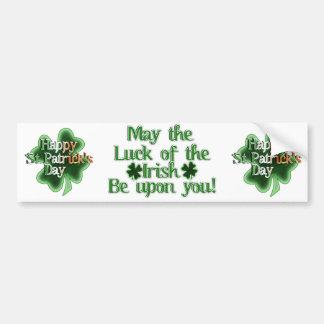 El día de St Patrick feliz (texto irlandés del Pegatina Para Auto