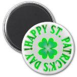 ¡El día de St Patrick feliz! Trébol del vintage Imán Redondo 5 Cm