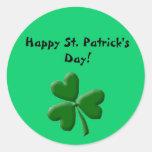 ¡El día de St Patrick feliz! - Trébol Pegatinas Redondas